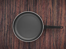 Top View Empty Pan On Table Background. Top View Empty Pan On The Table Background royalty free stock image