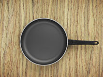 Top View Empty Pan On Table Background. Top View Empty Pan On The Table Background Royalty Free Stock Images