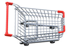 Top view empty shopping cart isolated on white background. Top view empty shopping cart. 3D render isolated on white background Royalty Free Stock Image