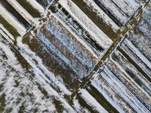 Top view of empty snowy and dark fields patched landscape on sunny winter day. Aerial drone photography concept.  stock photos