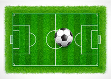 Top view of an empty soccer field with realistic grass texture, Vector & illustration Stock Images