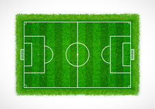 Top view of an empty soccer field with realistic grass texture, Vector & illustration Royalty Free Stock Photos