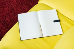 Top view of empty textbook pages. With pencil royalty free stock image