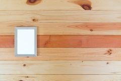 Top view of empty wood photo frame on wooden table with copy spa Stock Images