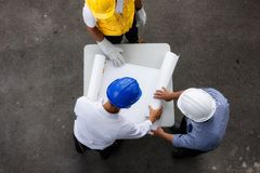 Top view of engineer check blueprint paper Stock Images