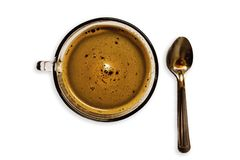 Top view Espresso coffee mugs on the White Blackground. royalty free stock photo