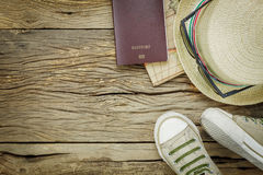 Top view essential items to travel . stock photo