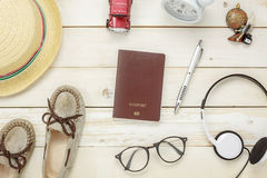 Top view essential travel items. stock photo