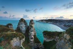 Top view on Etretat at sunrise Royalty Free Stock Image