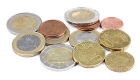 Top view euro penny money macro detail. Royalty Free Stock Photos