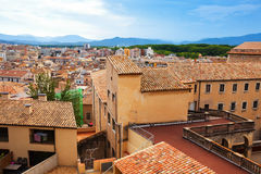 Top view of european city. Girona Stock Photography