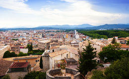 Top view of european city. Girona Stock Photos