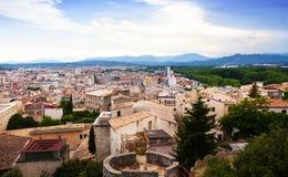Top view of european city. Girona Stock Photos