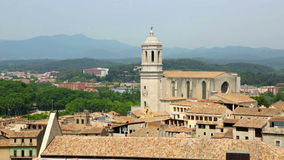 Top view of european city in sunny day. Girona,  Catalonia stock video footage