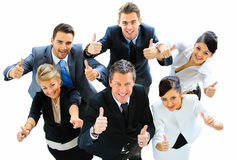 Top view of executives smiling. And pointing stock images