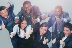 Top view of business people with their hands together Stock Photos