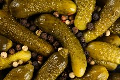 Top view, extreme close up of pickled gherkins small cucumbers sprinled with peppercorn mix. Macro food texture background royalty free stock photos