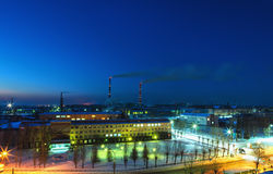 Top view of the factory at night Royalty Free Stock Photography