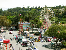 Top View of the Fairgrounds, Los Angeles County Fair, Fairplex, Pomona, California. Top View of the LA County Fairgrounds with a view of Pomona Ganesha Hills Royalty Free Stock Photo
