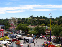 Top View of the Fairgrounds, Los Angeles County Fair, Fairplex, Pomona, California. Top View of the Fairgrounds with a view of Pomona Residential Hills, Los Stock Photography