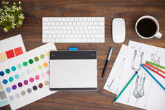 Top view of a fashion designer's desk Stock Images