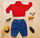 Top view fashion trendy look of baby clothes and toy stuff on th Stock Photo