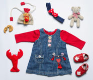 Top view fashion trendy look of clothes and stuff for baby girl Royalty Free Stock Photography