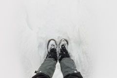 Top view of feet in boots and gaiters snow protection in the sno Royalty Free Stock Images