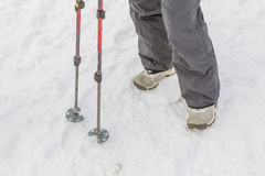 Top view of feet in boots and gaiters snow protection in the sno Royalty Free Stock Photo