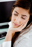 Top view of female with closed eyes Royalty Free Stock Images