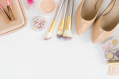 Top view of female fashion accessories Stock Images