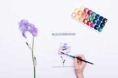 Top view of a female hand drawing a blue flower in a notepad wit Stock Photos