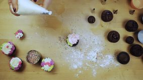 Top view of female hands decorating the chocolate cupcakes. Young woman using the pastry bag for colored cream.