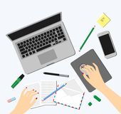 Top view of female hands, desk, laptop screen, illustration. Royalty Free Stock Image