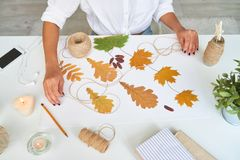 Designer Making Handmade Autumn Decorations. Top view of female hands making handmade autumn leaves composition for interior decoration Royalty Free Stock Images