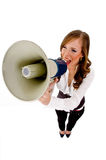 Top view of female holding loudspeaker Royalty Free Stock Images