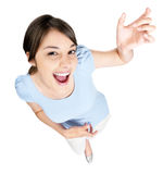 Top view of a female playing an air guitar Royalty Free Stock Photography