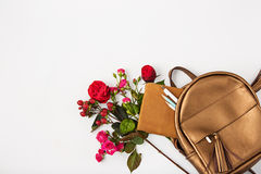 Top view of female property in bag. Royalty Free Stock Image