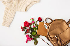 Top view of female property in bag. Royalty Free Stock Photos
