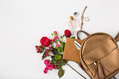Top view of female property in bag. Royalty Free Stock Images