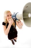Top view of female shouting in loudspeaker Stock Photos