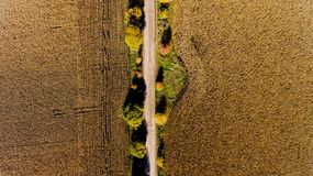 Top view of the field road. Aerial view Royalty Free Stock Image