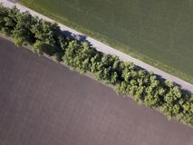 Top view of the field road with car. Aerial.  stock photography