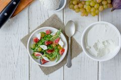 Top view of fig and goat cheese salad. royalty free stock images