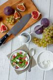 Top view of fig and goat cheese salad. stock images
