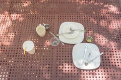 Top view finished picnic table with no left over food royalty free stock images