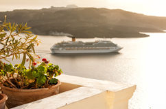 Top view from Fira, Santorini  Greece Royalty Free Stock Images