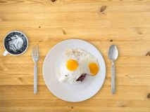 Thai style fried eggs and rice. stock image