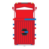 Top view of a firetruck. Isolated top view of a firetruck, Vector illustration Stock Image