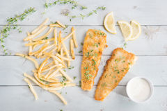 Top view fish and chips Stock Photos